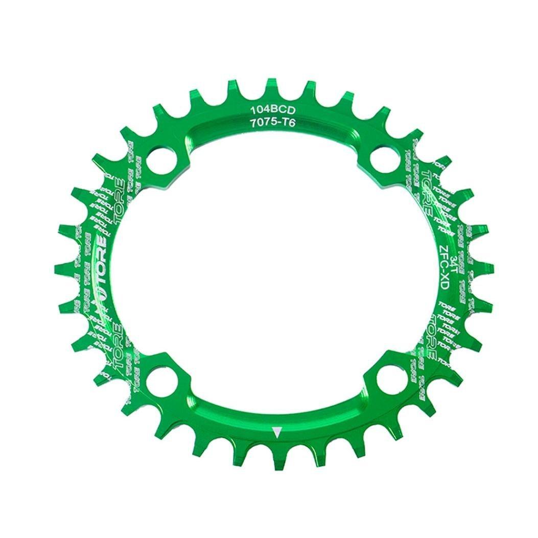Binmer(TM) 104BCD 34T Ultralight Alloy Bike Bicycle Chainring Oval Round Chainwheel (Green)