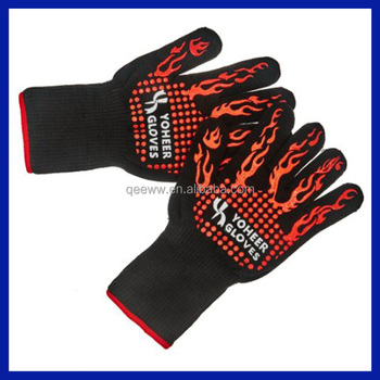 High Aramid Fiber Heat Resistant Bbq Gloves 100% Cotton Liner ...
