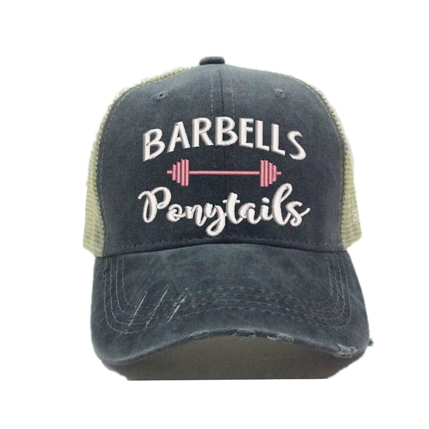 Get Quotations · Barbells Ponytails 2 Adult Custom Distressed Trucker Hat  Embroidered Vintage Ball Cap 9b0c472b280a
