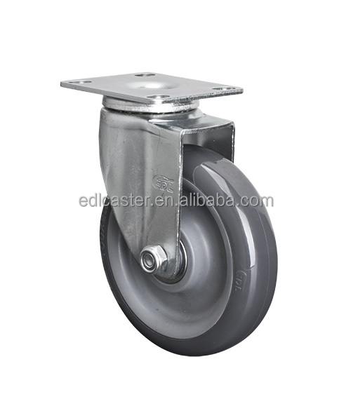 "EDL Light 4"" 80Kg Grey Polyurethane PU Wheels Castors Plate Bearing Swivel Roller Industrial Casters Wheels for trolley cart"