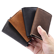 Super thin metal PU leather card case 빛 weight RFID 블로킹 credit card holder 팝 업 business card 지갑