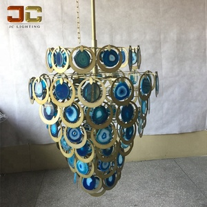 Colored agate blue chandelier for luxury vaills