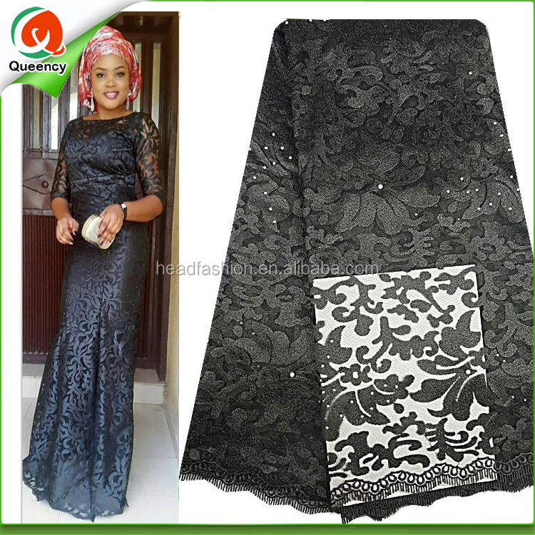 black nigerian tulle lace fabric high quality embroidery design korea lace with stone work