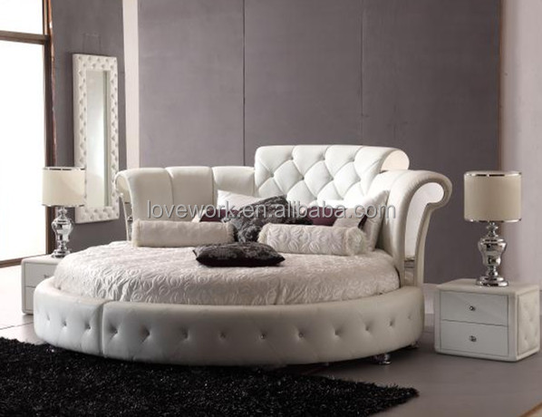 2018 Italian Bedroom Furniture Classic Chesterfield White Leather Round Bed Set AD02