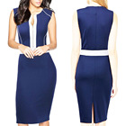 Clothes women Summer V Neck zipped Tunic Bodycon Office Wear Work casual pencil Dresses
