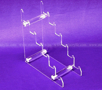 Easy Assembly 6 Tiers Clear Acrylic Riser for Knife Display, 6 slot Lucite Knife Display Holder