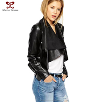 Jacket for women punk wind fashion dress wholesale Europe irregular deerskin flocking spell PU leather Motorcycle coat 2015