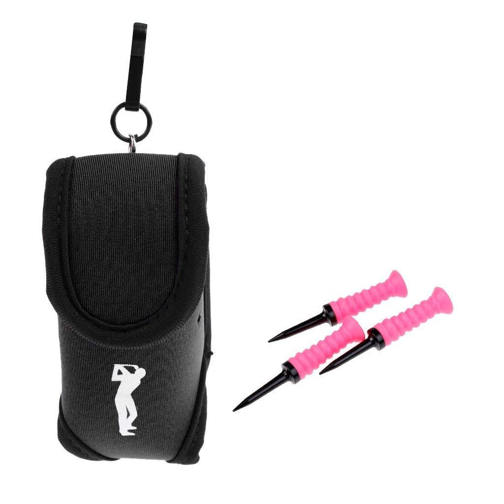 Jili Online Mini Durable Black Neoprene Golf Ball Holder Pouch Waist Pack + 3 Pieces 83mm Rubber Plastic Golf Tees
