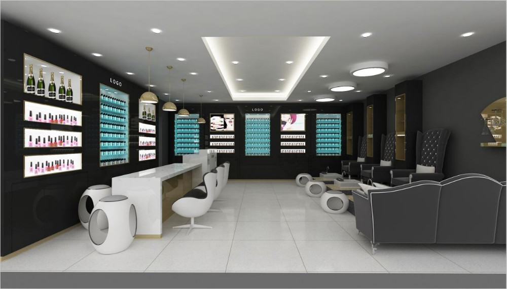 Nail salon interior design with melamine display furniture - Nail salon interior design photos ...