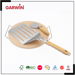 New Born The Oven Ceramic Pizza Stone Cooking Kit with Pizza Cutter and Pizza Spatula Cooling Metal Rack