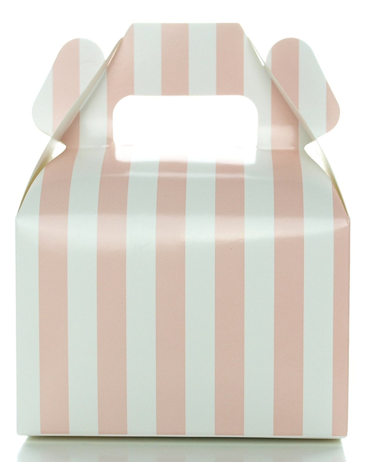 Baby Shower Candy Boxes, Light Pink Striped (12 Pack) - Wedding Supply Favor Box, Girls Princess Birthday Party Supplies, Small Square Gable Boxes
