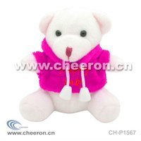 White Teddy Bear with Colourful Clothes