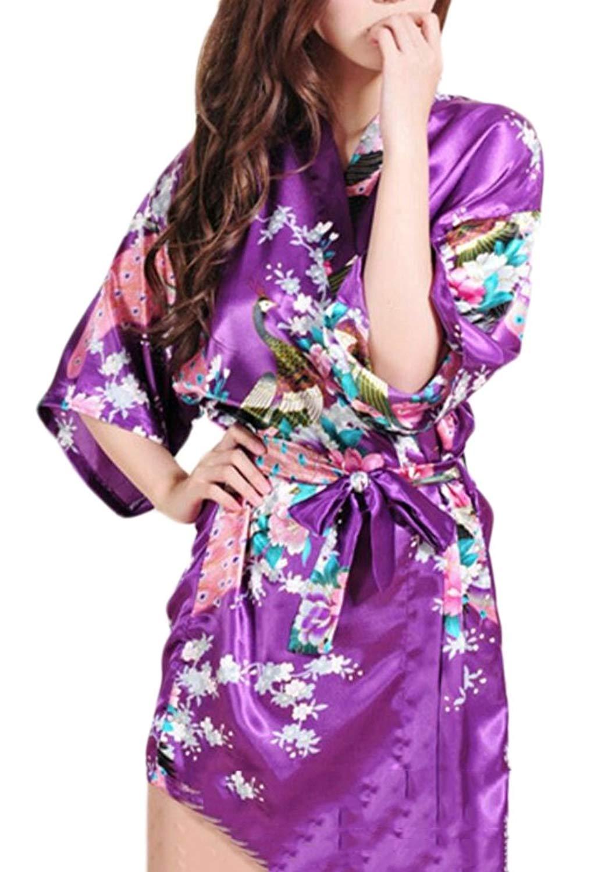 2c92dbfeba Get Quotations · WSPLYSPJY Women s Satin Short Kimono Robe Bathrobe  Sleepwear Bathrobe with Belt ...
