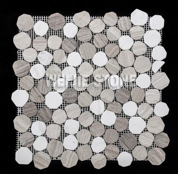 Premium Grau Holz Gemischt Reinweißen Marmor Runde Brooken Stück Mosaik  Fliesen Für Bad Dekoration