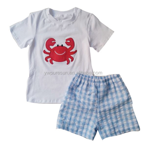 Hot sale children custom clothes manufactures baby wear summer crab boy clothing set with embroidery