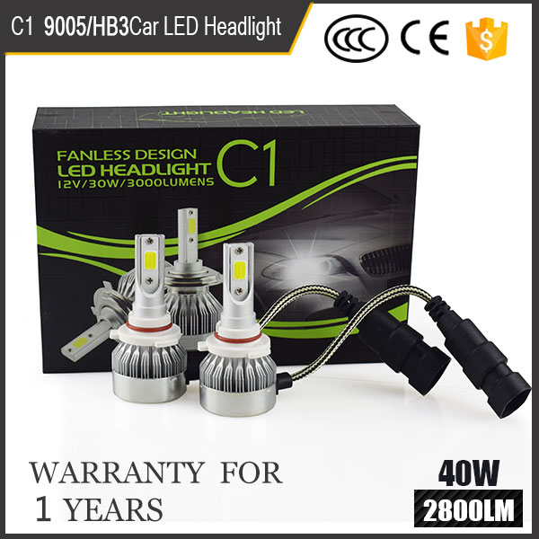 Wholesale Car COB LED 30w 6000k H4 H7 H8 H11 9005 9006 fanless C1 led headlight