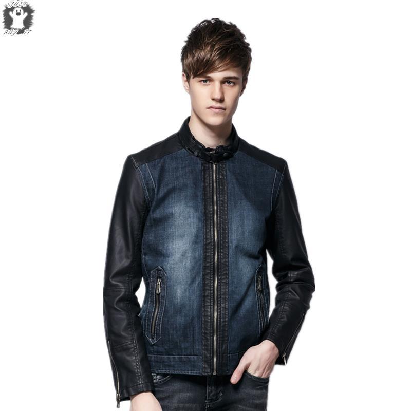 d79cb179bfa Get Quotations · New Arrive Brand European Style Mens Jackets Denim Spliced  Zipper Pocket Fashion Mens Outerwear Mens Jackets