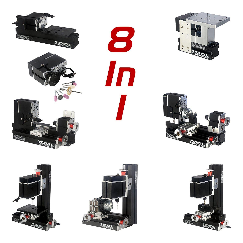 ZhouYu 8 in 1 60W Mini Multi-function Combination Machine Tools, Mini Lathe, Jigsaw, Wood Turning Lathe, Milling Machine, Drilling Machine, Sanding Machine,Dividing Drillilng Machine TZ8000M