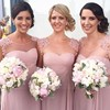 New designs cap sleeve flowers beaded chiffon blush pink cheap bridesmaid dresses MBA22
