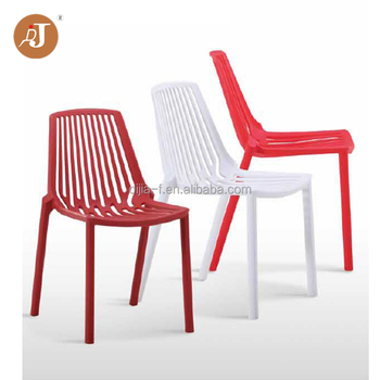 Modern Bright Color Indoor Outdoor Armless Plastic Stacking Chair