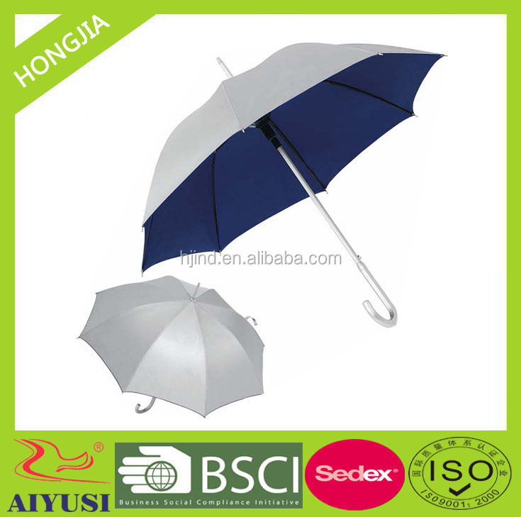 2016 hot selling aluminum frame stick sun and rain umbrella with silver coated polyester fabric