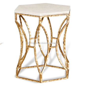 Gold Color Metallic Side Table With Marble Top