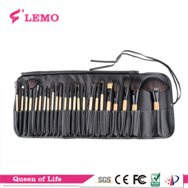 wood handle professional makeup cosmetic brush set 24pcs with bag for individual buyer