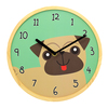 10 inch Natural Solid Wood Made Silent Cartoon Fashion Animal Dog Face Wooden Wall Clock For School Classroom Palyroom
