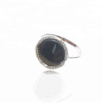 Ginry Competitive Price 925 Silver Round Black Ceramic Ring