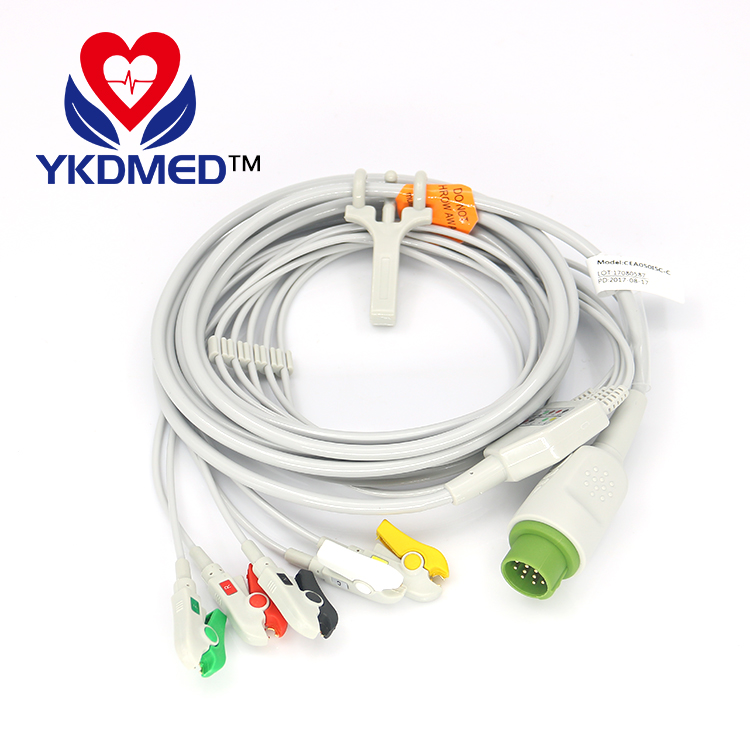 BLT(Biolight) 12 pin ECG cable with leads,5 lead/IEC/Clip leadwires for M700 series