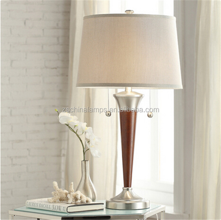 Brushed Nickel Contoured Base 2-light LED Decorative Accent Table Lamp with empire shade