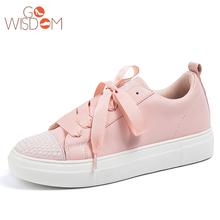 2018 hot sale PU diamond upper lace plus casual latest fashion women shoe