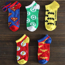 FLYING-FACTORY SALE Men & Women's Cotton Ankle Socks America Style The Avengers Members Pattern Calcetines Men Short Batman Sock