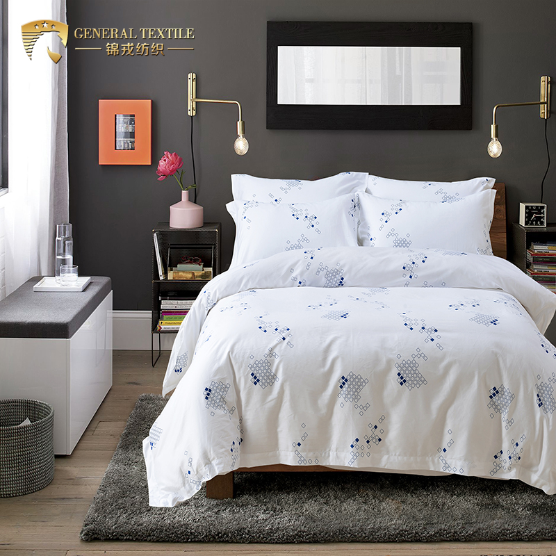 JR603 Home Textile Single Size 300TC Printed Bedding Set Bed Sheet
