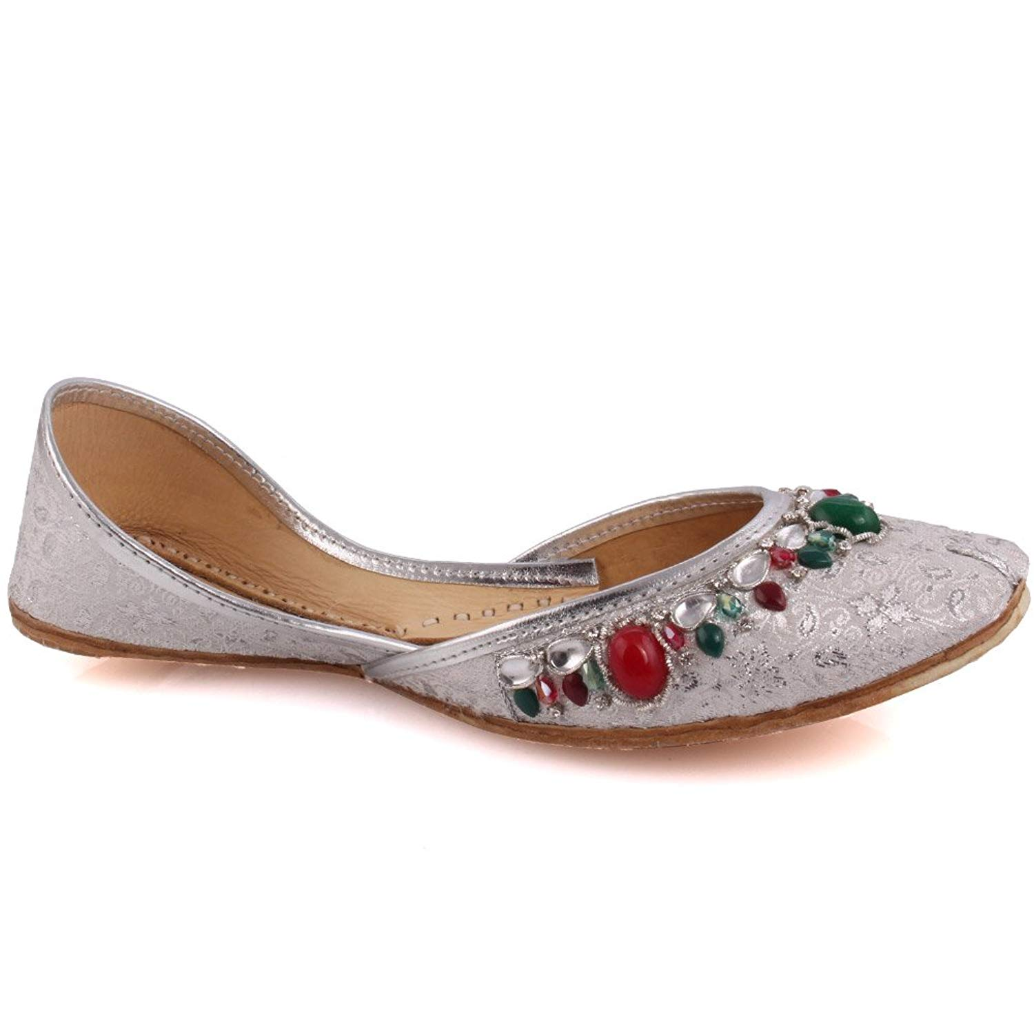 f4d73d26a2d031 Get Quotations · Unze New Women Traditional  Topaz  Handmade Leather Flat  Khussa Pump Slippers Shoes UK Size