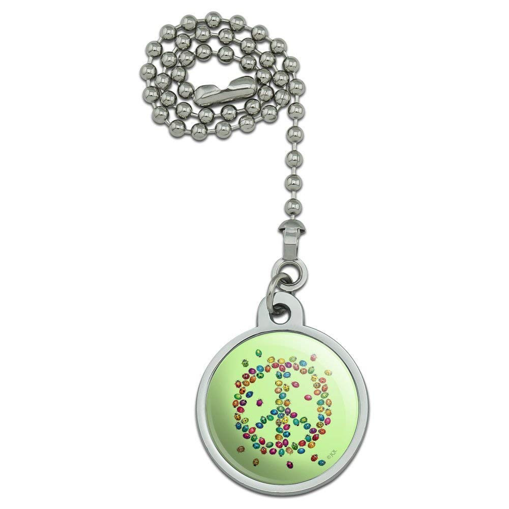 Lady Bug Rainbow Peace Sign Ceiling Fan and Light Pull Chain