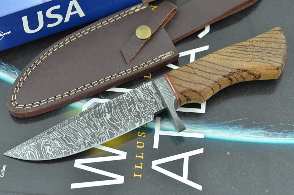 Unforgettable Christmas Gift by ColdLand Knives | Handmade Damascus Steel 10.50 Inches Bowie Hunting Knife with Exotic Zebrawood Wood Handle ZH38
