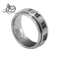Stainless Steel Roman Numeral Engraved Polished Finish 8mm Wide Spinner Band Ring