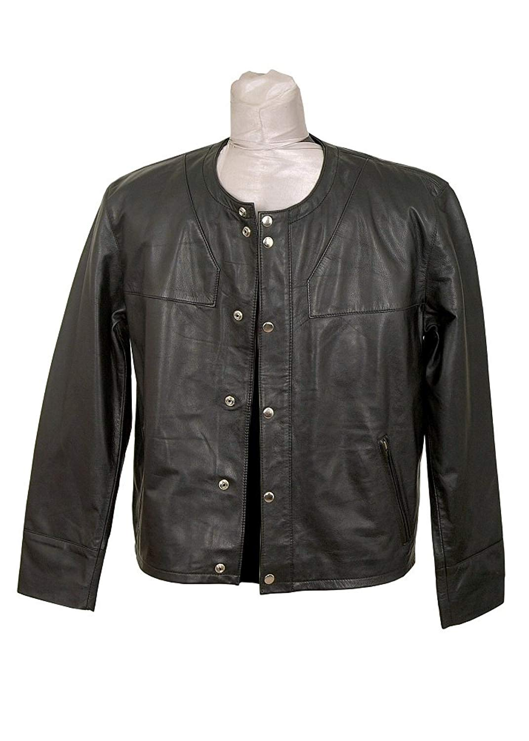 a2e4dcb07 Cheap Black Leather Collarless Jacket, find Black Leather Collarless ...