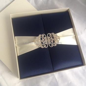 Luxury Cards Wholesale Silk Invitation Boxes With Rhinestone