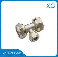 PEX/AL/PEX pipe fittings Reducing Tee/Male female brass threaded tee/3 female brass tee/16mm PE aluminium complex pipe fittings