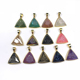 Triangle Shape Natural Agate Druzy Faceted Charms For Necklace Making
