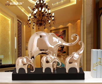 Home Decoration Craft Resin Model Animal Figurine Thai Group Elephant Statue For Office