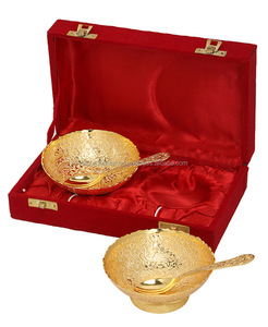 Goldplated Bowls - Brass Gold Plated Bowls Gift Set