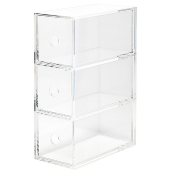 Desktop Premium Clear Acrylic Plexiglass Storage Box With 3 Removable  Drawers