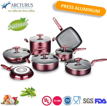 12 Pcs Press Aluminum Cookware Set With Nonstick Marble Coating ...