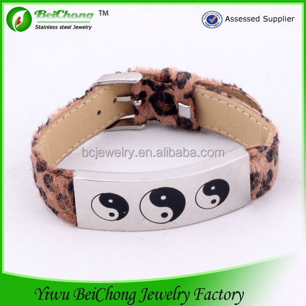 New 2014 Silver Jewelry Tai Chi Magnetic Leather Bracelet