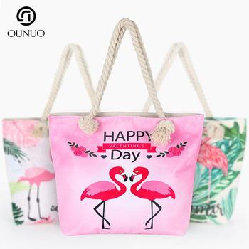 dfb1dd13a77b Новый дизайн Мода Низкая цена пользовательские лето Холст Пляжная сумка  веревка ручка, пляжная сумка,