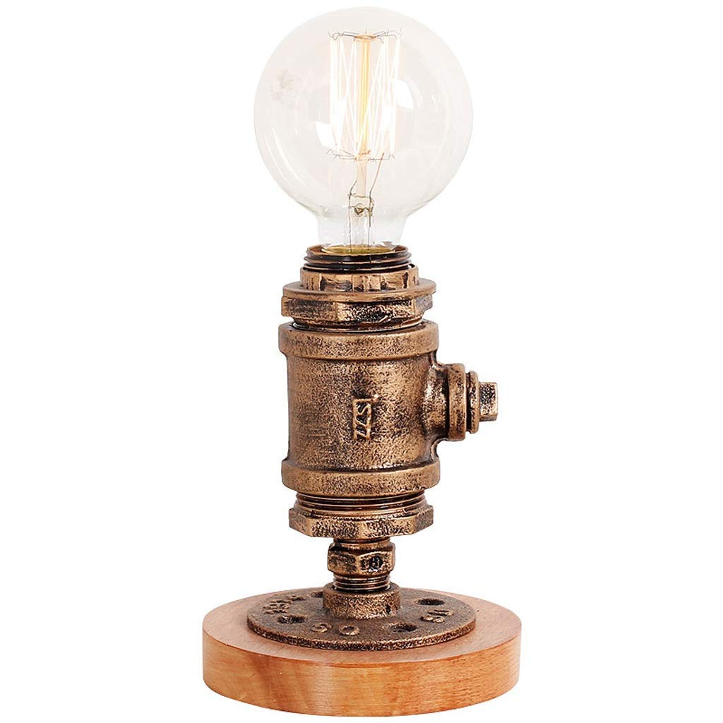 Wood Night Light-Table Lamp-Vintage Desk Lamp-E27 Edison Bulb Wooden Retro Industrial Dimmable, Nightlight for Bedrooms Living Room Home Art Display Cafe Bar Studio Antique Décor