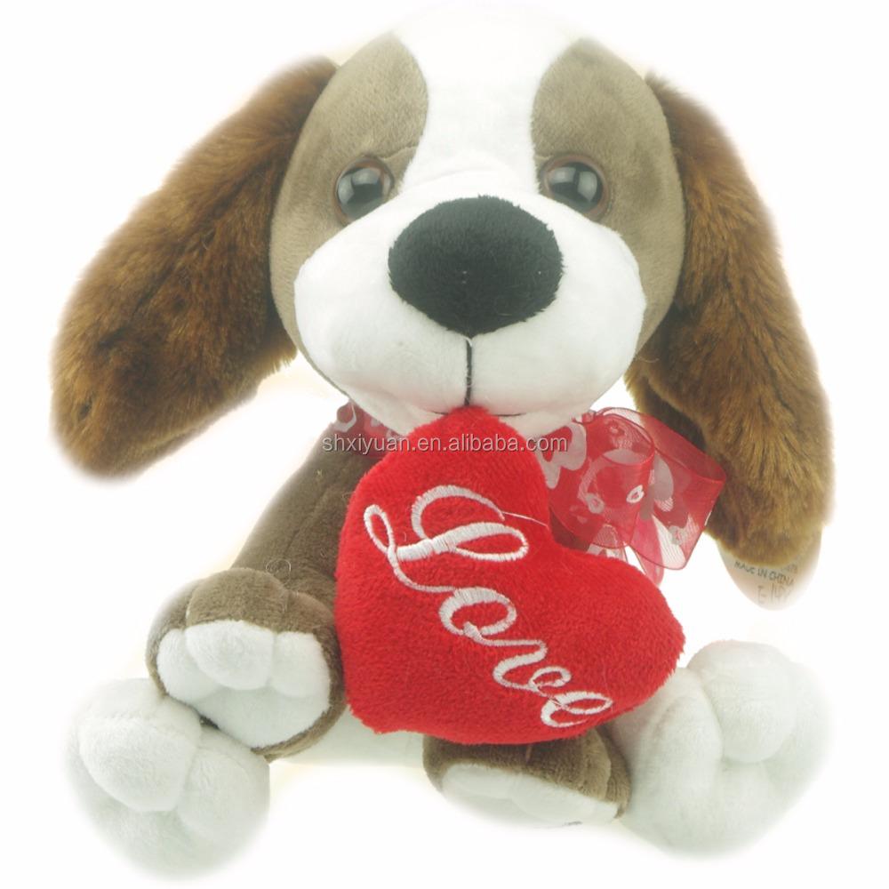 2020 Валентина подарки плюшевая собака плюшевая мягкая игрушка красное сердце плюшевая собака